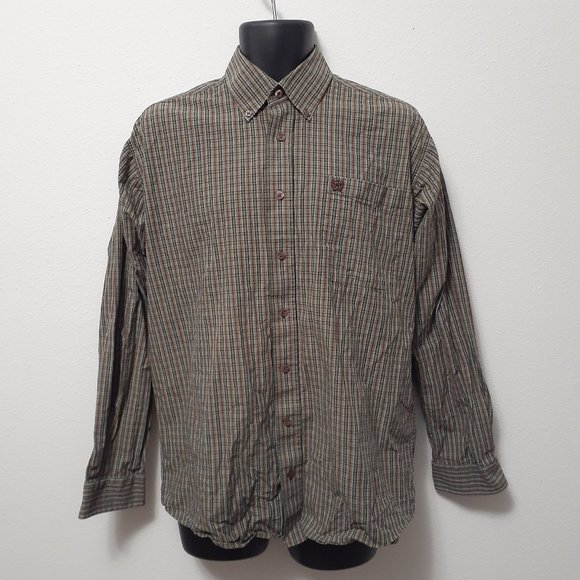 Cinch Pocket Button Down Plaid Mens Dress Shirt